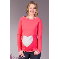 Těhotenská tričko/halenka SRDCE – Korál