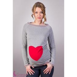 Těhotenská tričko/halenka SRDCE – Šedý melír