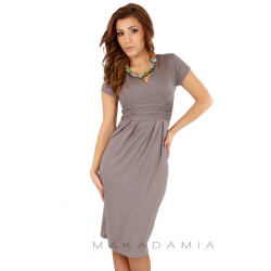 Midi šaty s řasením v pase, krátký rukáv - Cappuccino