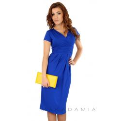 Midi šaty s řasením v pase, krátký rukáv - Modrá