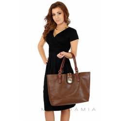 Midi šaty s řasením v pase, krátký rukáv - Černá