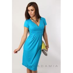 Midi šaty s řasením v pase, krátký rukáv - Blankytně modrá