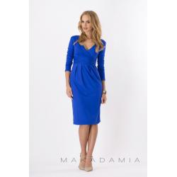 Midi šaty s řasením v pase, dlouhý rukáv - Modrá