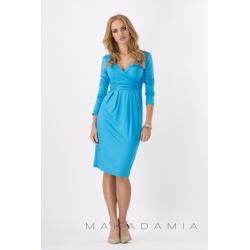 Midi šaty s řasením v pase, dlouhý rukáv - Nebeská modrá