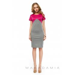 Dvoubarevné šaty alá bolerko, krátký rukáv - Šedá/Fuchsie