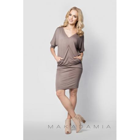 Těhotenské a dámské šaty s kapsami - Cappuccino