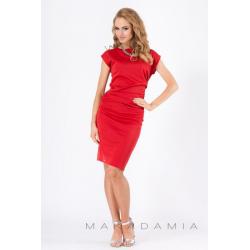 Midi šaty s řasením v bocích M177 - Červená