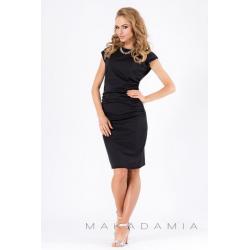 Midi šaty s řasením v bocích M177 - Černá