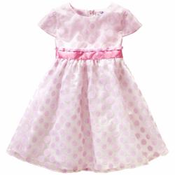 Dívčí šaty s růžovými puntíky a se spodničkou