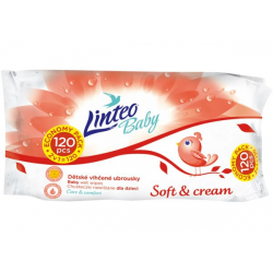 Vlhčené ubrousky Soft and cream Linteo Baby 2v1, 60 + 60 ks (120ks)