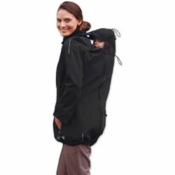 Softshellová bunda SANDRA pro těhotné a pro dva (nošení vpředu/vzadu) - Černá