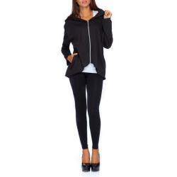Bunda/Mikina na zip s kapucí - černá