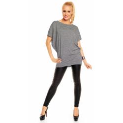 Těhotenská a dámská tunika/šaty Daniela, krátký rukáv - Tmavě šedý melír