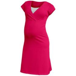 Těhotenská a kojící noční košile EVA, KR - Sytě růžová