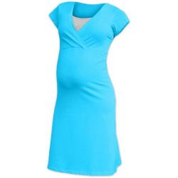 Těhotenská a kojící noční košile EVA, KR - Světlý tyrkys