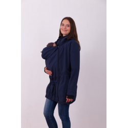 Nosící softshellová bunda PAVLA pro přední nošení dětí - Tmavě modrá