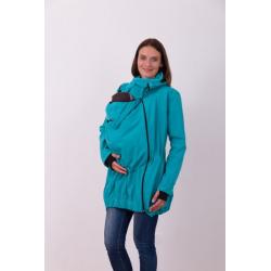Nosící softshellová bunda PAVLA pro přední nošení dětí - Tyrkys