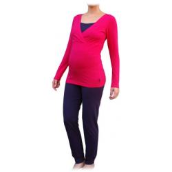 Pyžamo pro těhotné a kojící matky, dlouhé - Sytě růžová/Švestka
