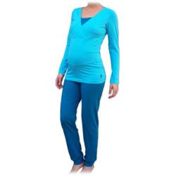 Pyžamo pro těhotné a kojící matky, dlouhé - Tyrkys