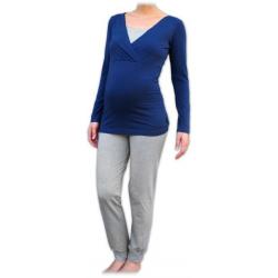 Pyžamo pro těhotné a kojící matky, dlouhé - Jeans/Šedý melír