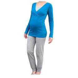 Pyžamo pro těhotné a kojící matky, dlouhé - Tmavý tyrkys/Šedý melír