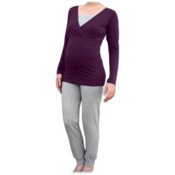 Pyžamo pro těhotné a kojící matky, dlouhé - Švestka/Šedý melír