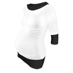 Těhotenská tunika DUO 3/4 rukáv – Bílá/Černá