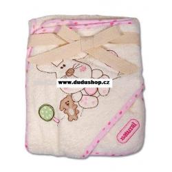 Dětská bavlněná osuška s žínkou ECO - béžová/růžová, 76x76cm