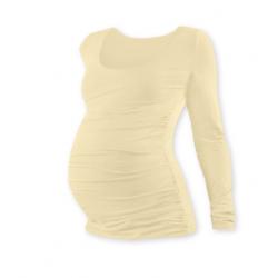 Těhotenské tričko JOHANKA, dlouhý rukáv - CAFFE LATTE