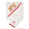 Dětská bavlněná osuška s žínkou ZVÍŘÁTKA - béžová/medvídek, 76x76cm