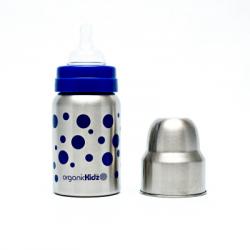 Láhev široká OrganicKidz 270ml modré puntíky