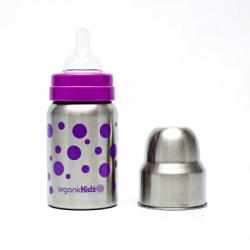 Láhev široká OrganicKidz 270ml fialové puntíky