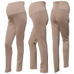 Těhotenské kalhoty - bavlněný úplet - Capuccino