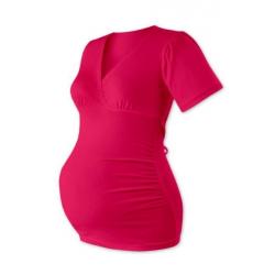 """Těhotenská tunika krátký rukáv, výstřih """"V"""", na zavazování ZUZANA - Sytě růžová"""