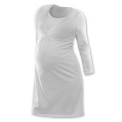 Noční košile pro těhotné a kojící matky dlouhý rukáv - Smetanová