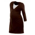 Noční košile pro těhotné a kojící matky dlouhý rukáv - ČOKO HNĚDÁ