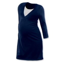 Noční košile pro těhotné a kojící matky dlouhý rukáv - JEANS
