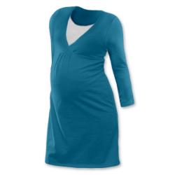 Noční košile pro těhotné a kojící matky dlouhý rukáv - PETROLEJOVÁ