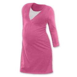 Noční košile pro těhotné a kojící matky dlouhý rukáv - RŮŽOVÁ