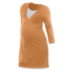 Noční košile pro těhotné a kojící matky dlouhý rukáv - SVĚTLE ORANŽOVÁ