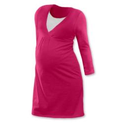 Noční košile pro těhotné a kojící matky dlouhý rukáv - SYTĚ RŮŽOVÁ