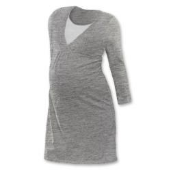 Noční košile pro těhotné a kojící matky dlouhý rukáv - ŠEDÝ MELÍR