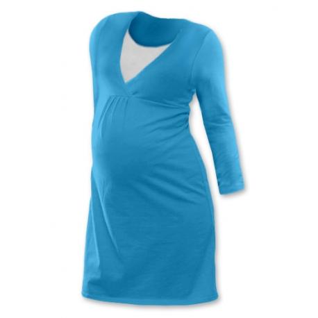 Noční košile pro těhotné a kojící matky dlouhý rukáv - TYRKYSOVÁ