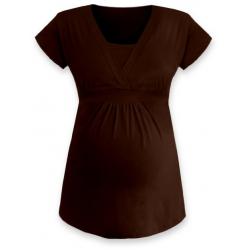 ANIČKA Kojící a těhotenská tunika do A , krátký rukáv - Čokoládová