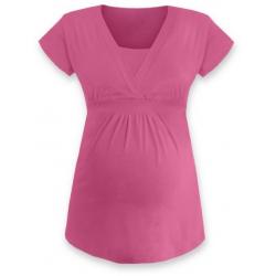 ANIČKA Kojící a těhotenská tunika do A , krátký rukáv - Růžová