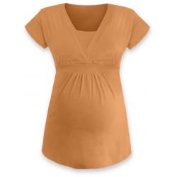 ANIČKA Kojící a těhotenská tunika do A , krátký rukáv - Světle oranžová