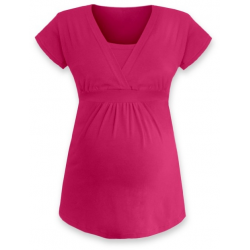 ANIČKA Kojící a těhotenská tunika do A , krátký rukáv - Sytě růžová