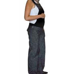 Těhotenské kalhoty s laclem - černý melírek