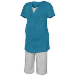Pyžamo pro těhotné a kojící matky KR - Tmavý tyrkys