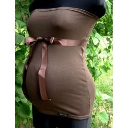 Těhotenský pás/top se stuhou - Hnědá